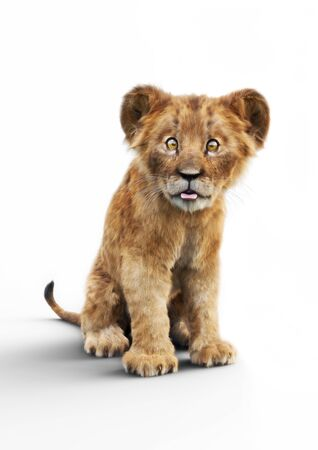 Portrait of a adorable lion cub sticking his tongue out on a white background. Humorous wildlife 3d rendering