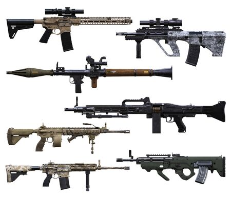Military weapons booster pack. Various automatic assault rifles, belt feed machine gun's and RPG on an isolated white background. 3d rendering Zdjęcie Seryjne