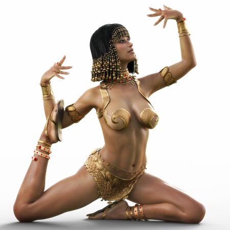 Egyptian female posing while doing a traditional dance on a white background. 3d rendering