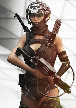 Portrait of a confident sexy futuristic sci fi female soldier armed with an automatic crossbow and sword ready for combat. 3d rendering Zdjęcie Seryjne