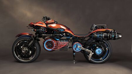 Futuristic sci fi custom motorcycle concept with studio background . 3d rendering illustration