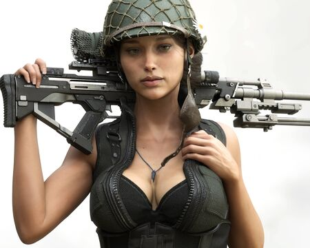 Portrait close up of a sexy female sniper soldier posing for the camera with scoped marksman rifle on her back . 3d rendering