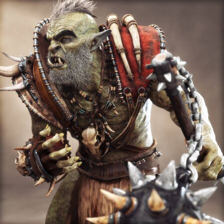 Seasoned bearded savage Orc Brute warrior wearing traditional armor. Fantasy themed character holding a flail spiked weapon with depth of field. 3d Rendering