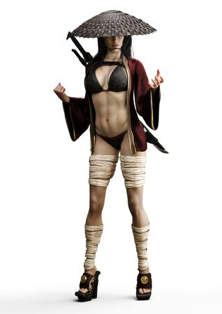 Oriental sexy female warrior shinobi dressed in a rob and coolie straw hat with sword on her back . 3d rendering on a white background.