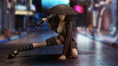 Female sexy warrior posing in a combat stance with a Katana sword. Blurred neon city streets in the background .3d rendering