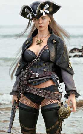 Portrait of a pirate female coming ashore in search of adventure armed with a flintlock pistol and a cutlass. 3d rendering Banque d'images