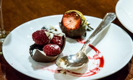 chocolate dessert strawberry Stock Photo