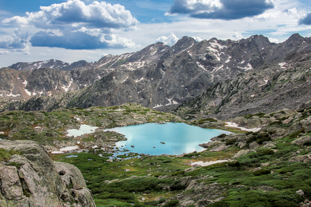 Rocky Mountain Landscape with Lakes and Waterfalls