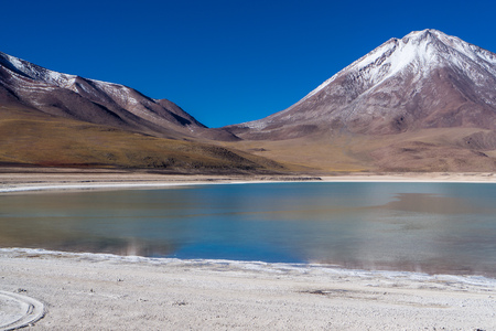 Laguna Verde and Licancabur Volcano Stock Photo