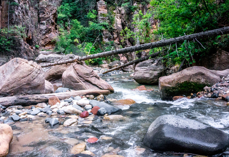 Hiking The Narrows at Zion National Park Stock Photo