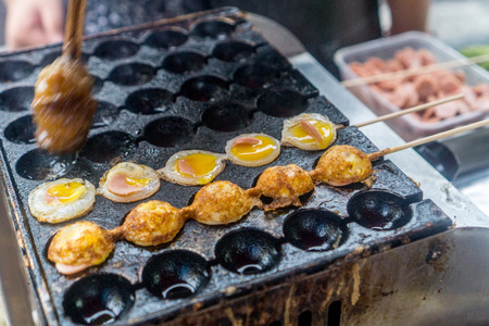 Street food - quail eggs and ham