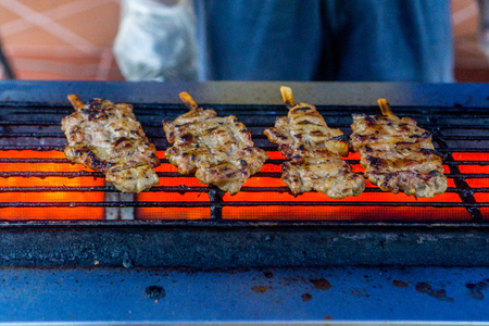 Street food - grilled pork Stock Photo