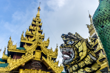 Shwedagon Pagoda (officially named Shwedagon Zedi Daw) and also known as the Great Dagon Pagoda.  A  gilded stupa located in Yangon, Myanmar. Editorial