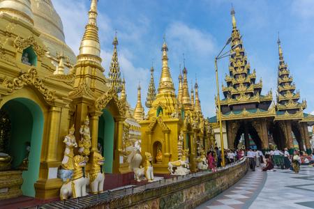 Shwedagon Pagoda (officially named Shwedagon Zedi Daw) and also known as the Great Dagon Pagoda.  A  gilded stupa located in Yangon, Myanmar. Editorial