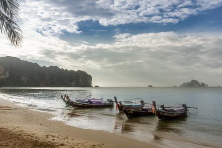 Ao Nang, Krabi, Thailand - long-tail boats at beach