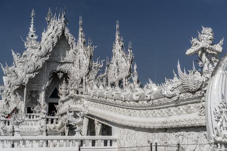 치앙 라이, 태국 - 화이트 사원 - Wat Rong Khun 스톡 콘텐츠