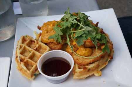 Chicken and Waffles Stock Photo