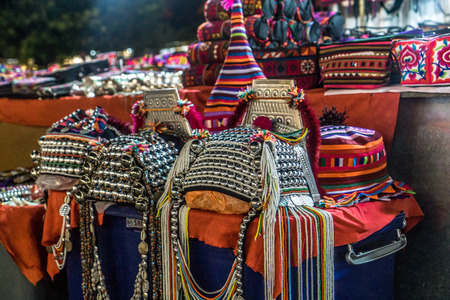 Chiang Rai, Thailand - Ethnic Crafts from Nearby HIlltribes - headdressed Editorial