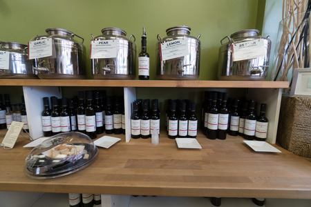 Table with multiple olive oils on display