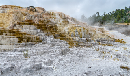 Mammoth Springs Geothermal Feature in Yellowstone National Park, Wyoming, USA in October (Autumn) 2018