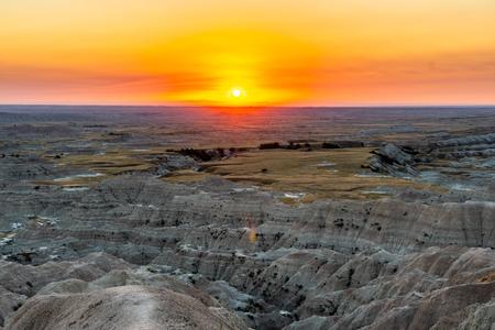 Landscape Vista Sunset at the Badlands National Park in South Dakota, USA 版權商用圖片