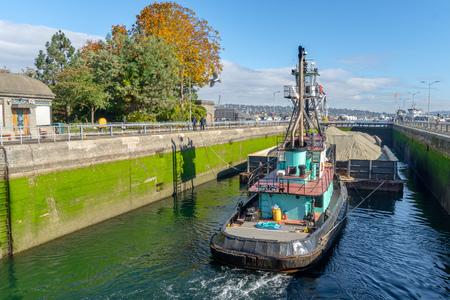 At the Ballard Locks at Puget Sound, Seattle, Washginton