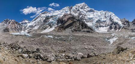 Day 8 of EBC Trek: Panoramic of Everest Base Camp Stock Photo