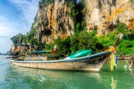 Phra Nang Beach, Krabi, Thailand - Phra Nang Beach, Krabi, Thailand - limestone karsts by beach and boat
