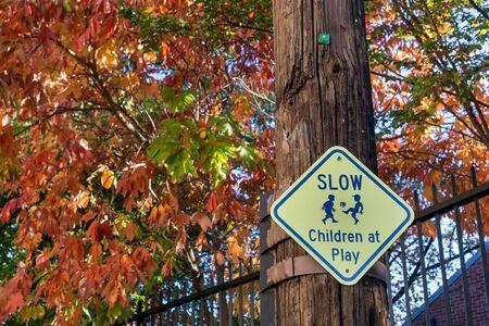 slow yellow sign Banco de Imagens