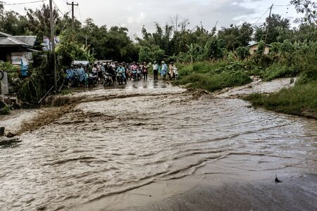 Inle Lake, Myanmar - broken dam floods street Editorial