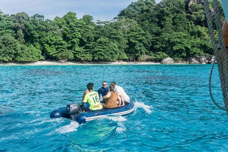 Similan Island, Thailand 3 day liveaboard SCUBA trip - going to beach Editorial