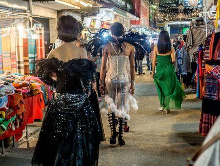 Ladyboys walking down the Night Bazaar