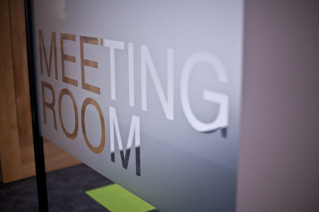 Meeting room sign etched in glass