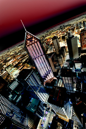 City skyline from a high angle with a deep red sky Editorial