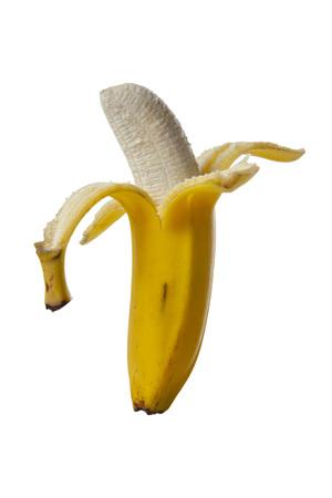 A half peeled banana on a white background Standard-Bild