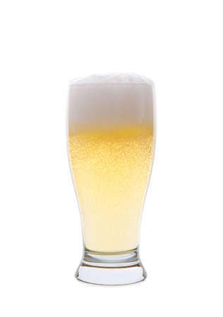 pilsner: A light pilsner beer isolated on a white background