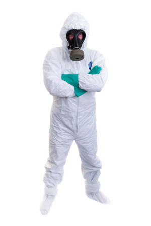 Man in biohazard suit on a white background photo
