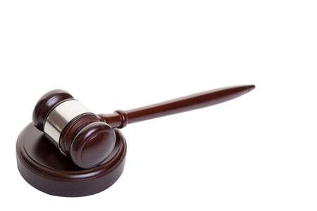 jurisprudencia: Tiro de mazo de madera acostado sobre el lado en el bloque Foto de archivo