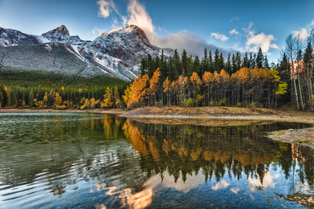 wedge: Fall colours at Wedge Pond in Kananaskis, Alberta Canada