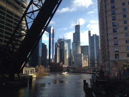 willis: Willis tower Chicago river Stock Photo