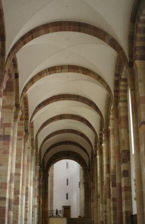 Colonnade inside the dome of Speyer, Germany Redakční