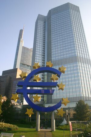 Office tower with euro symbol, Frankfurt, Germany