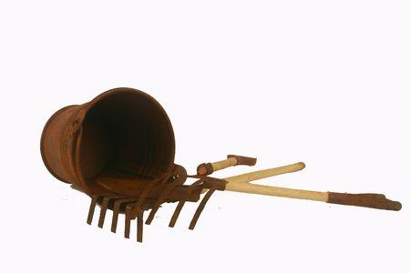 Rusty bucket and garden tools