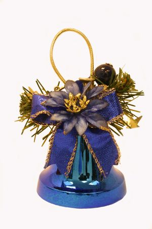 Blue christmas bell ornament, isolated