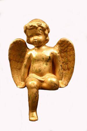 Golden Angel Figurine, isolated