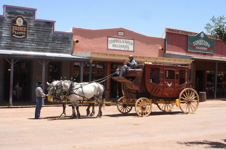 A stage coach in Tombstone Arizona. The old west. Banco de Imagens