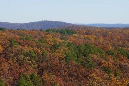 The Ozarks mountains in Missouri in the fall.