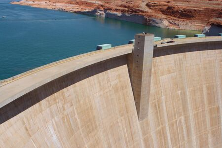 A view of the top of Glen Canyon Dam. Reklamní fotografie - 7701368