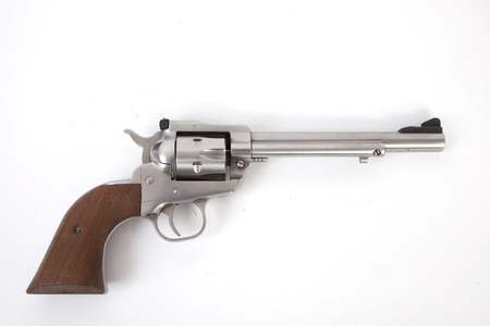 A nickel plated revolver isolated. Banque d'images