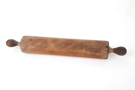 Antique wooden rolling pin, isolated. 版權商用圖片 - 9792570